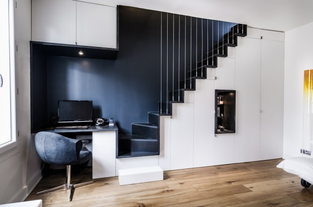 renovation appartement paris escalier design sur mesure