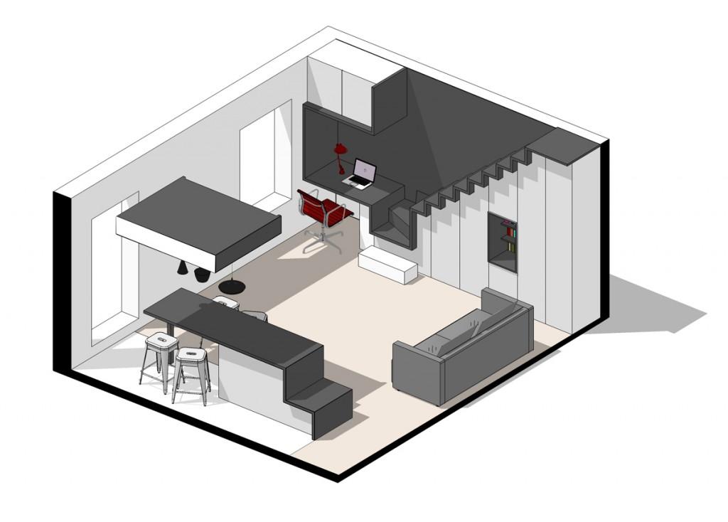 rénovation appartement paris plan architecte