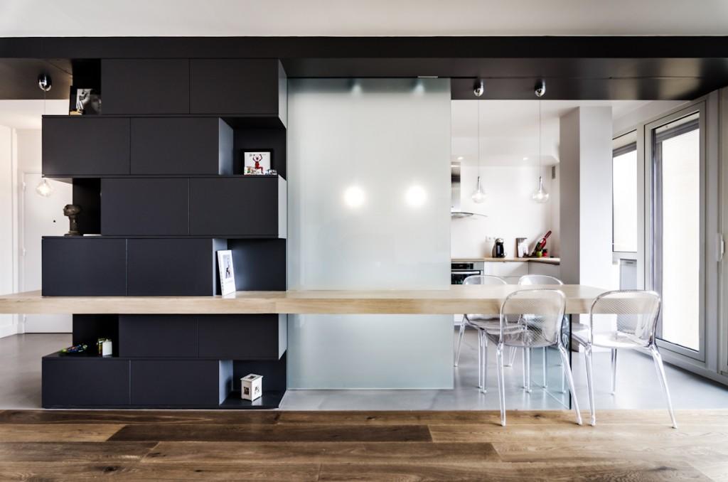 R novation d 39 un appartement boulogne 92100 atelier mep for Separer une piece avec un meuble