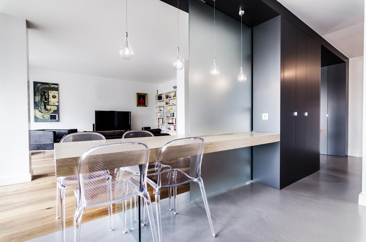 R novation d 39 un appartement boulogne 92100 atelier mep - Soluzioni per dividere soggiorno e cucina ...